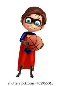 3d rendered illustration of Superboy with Basket ball