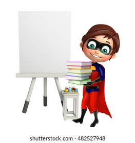 3d rendered illustration of Superboy with Book stack and easel board