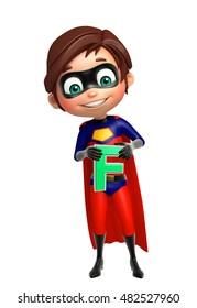 3d rendered illustration of Superboy with F alphabate