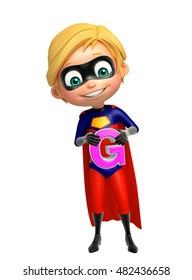3d rendered illustration of Superboy with G alphabate