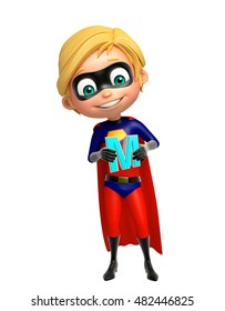 3d rendered illustration of Superboy with M alphabate