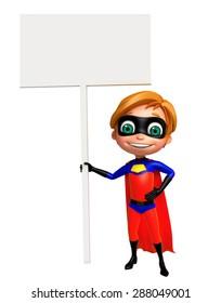 3d rendered illustration of superboy with sign