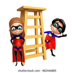 3d rendered illustration of Superboy and Supergirl with Ladder