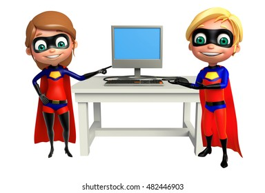 3d rendered illustration of Superboy and Supergirl with Computer