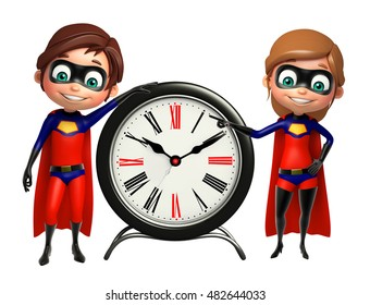 3d rendered illustration of Superboy and Supergirl with Clock