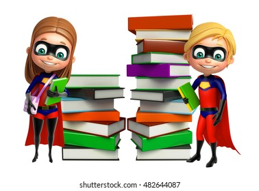 3d rendered illustration of Superboy and Supergirl with Book stack and School bag