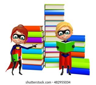 3d rendered illustration of Superboy and Supergirl with Book stack