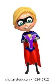 3d rendered illustration of Superboy with  Y alphabate