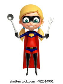 3d rendered illustration of supergirl with kitchen equipment
