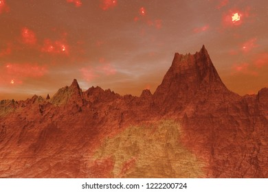 3D rendered Illustration of the surface of Planet Mars.