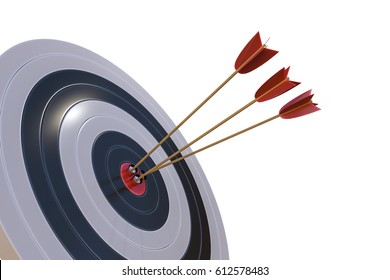 3D rendered illustration of target with arrows. Isolated on white background.