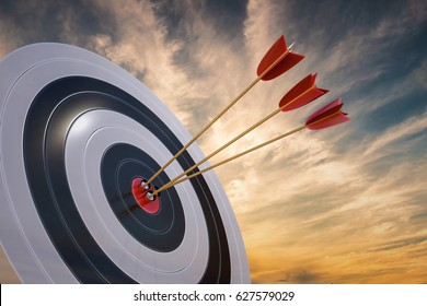 3D rendered illustration of target with arrows at sunset.