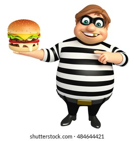 3d rendered illustration of Thief with Burger