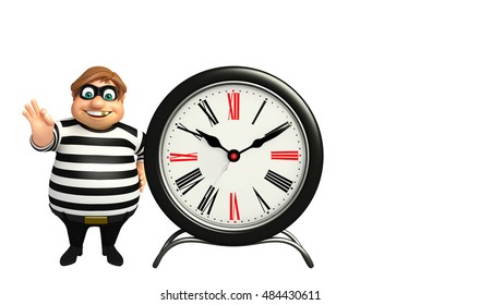 3d rendered illustration of thief with clock