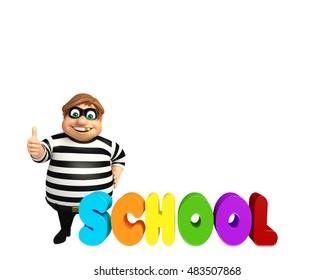 3d rendered illustration of thief with school sign