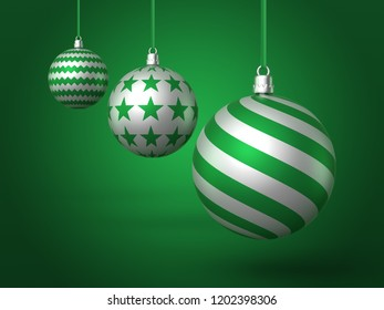 A 3d rendered illustration of three green and white christmas baubles hanging at descending heights and different depths from green ribbons casting a shadow onto a green background.