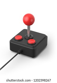 3d rendered illustration of a three quarter view of a black retro joystick with two red buttons a metal stick and a cable creating a shadow on a white background.