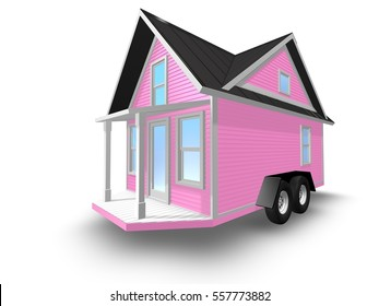 3D Rendered Illustration of a tiny house on a trailer.  House is isolated on a white background.  House has front porch with overhang.