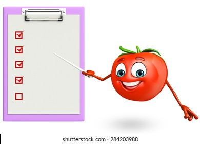 3d rendered illustration of tomato cartoon character with notepad