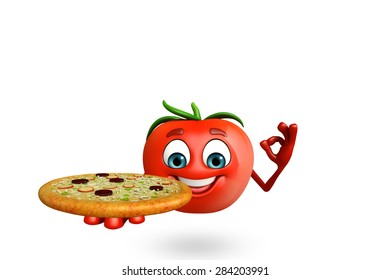 3d rendered illustration of tomato cartoon character with pizza