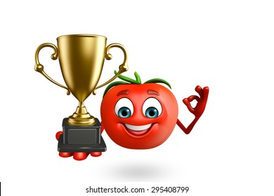 3d rendered illustration of tomato cartoon character with trophy