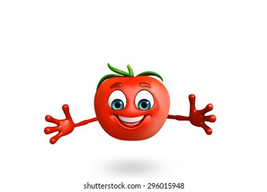 3d rendered illustration of tomato cartoon character