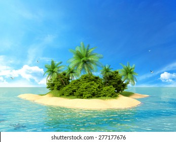 3d rendered illustration of a tropical island