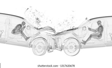 3d rendered illustration of two colliding cars