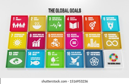 3D Rendered Illustration United Nations Sustainable Development Goals SDGs SDG Icons Symbols The Global Goals for Presentation Article Website Report Brochure Poster for NGO or Social Movements