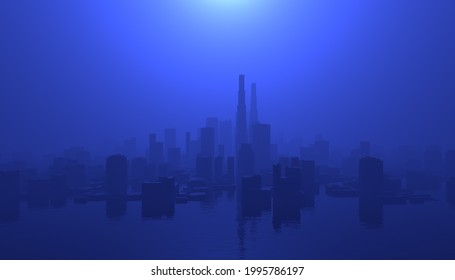 A 3D rendered illustration of an urban cityscape flooded with water and hazy sky.