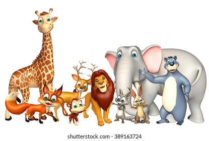 3d rendered illustration of wild animal collection