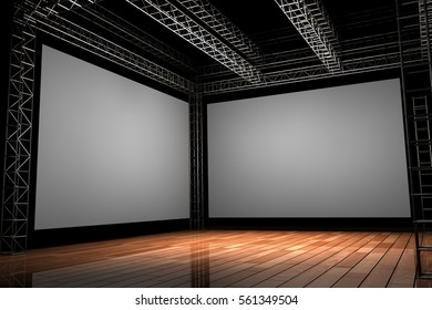 3D Rendered Illustration of a wood stage with trussing and two large blank screens over black background.