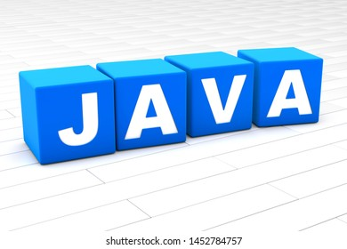 3D rendered illustration of the word Java.