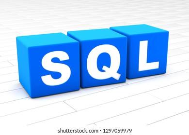 3D rendered illustration of the word SQL.