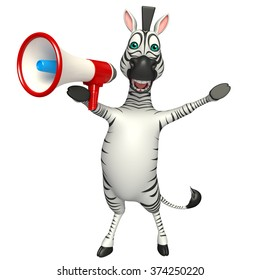3d rendered illustration of Zebra cartoon character with loud speaker