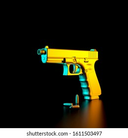 3d rendered image of a 9mm pistol and bullets on a black background. armaments and security concept.