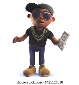 3d rendered image of a cartoon black African American hiphop rapper in 3d holding a wad of dollar bills