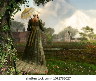 3d Rendered image of an elegant Jane Austen style woman strolling the countryside, Regency dress