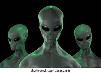 A 3D rendered image of a group of humanoid alien creatures isolated on black background