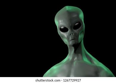 A 3D rendered image of a humanoid alien creature isolated on black background