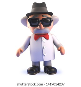 3d rendered image of a mad scientist professor cartoon character in 3d wearing a pork pie trilby hat