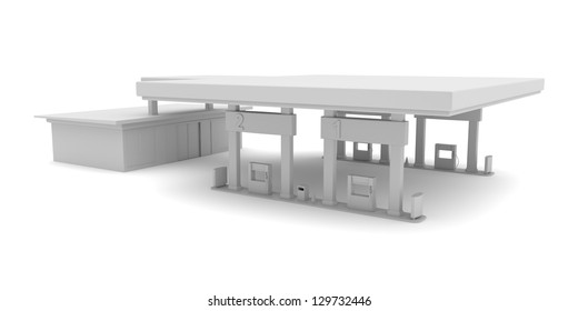 3d rendered image of project for petrol station