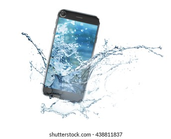 3D rendered image of smartphone splashing into water on white background