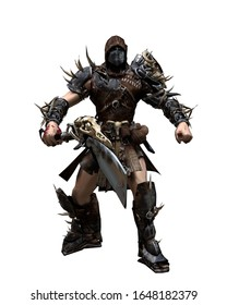 A 3D rendered images with a fictional character as a fighter or outlander  with armor , nails and a sword isolated on a white background