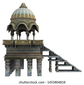 3D Rendered Indian Temple on white Background - 3D Illustration