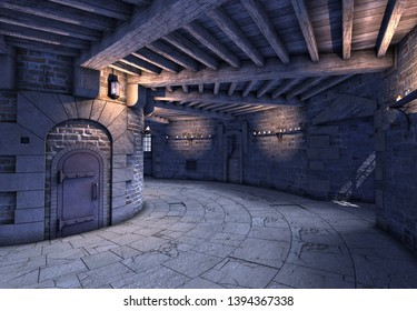 3D Rendered Inside View from a Castle Turret - 3D Illustration
