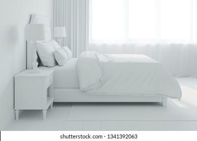 3d rendered interior of bedroom