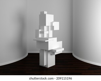 3d Rendered Interior Composition With Abstract Sculpture.
