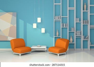 3d rendered interior composition with armchairs, simple shelf and abstract picture.