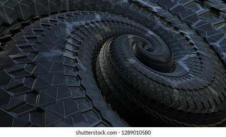 3d rendered intricate fractal like spiral